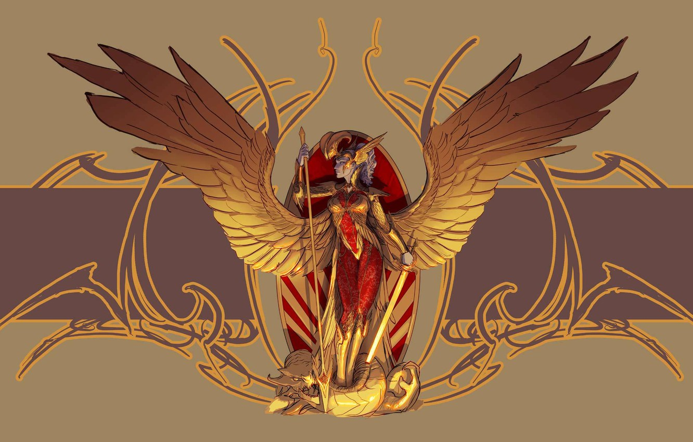 Photo wallpaper look, weapons, fiction, wings, angel, armor, art, profile, armor