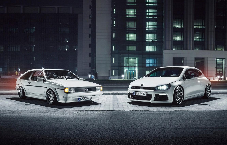 Photo wallpaper white, Volkswagen, white, front, Volkswagen, Scirocco, Ciprian Mihai