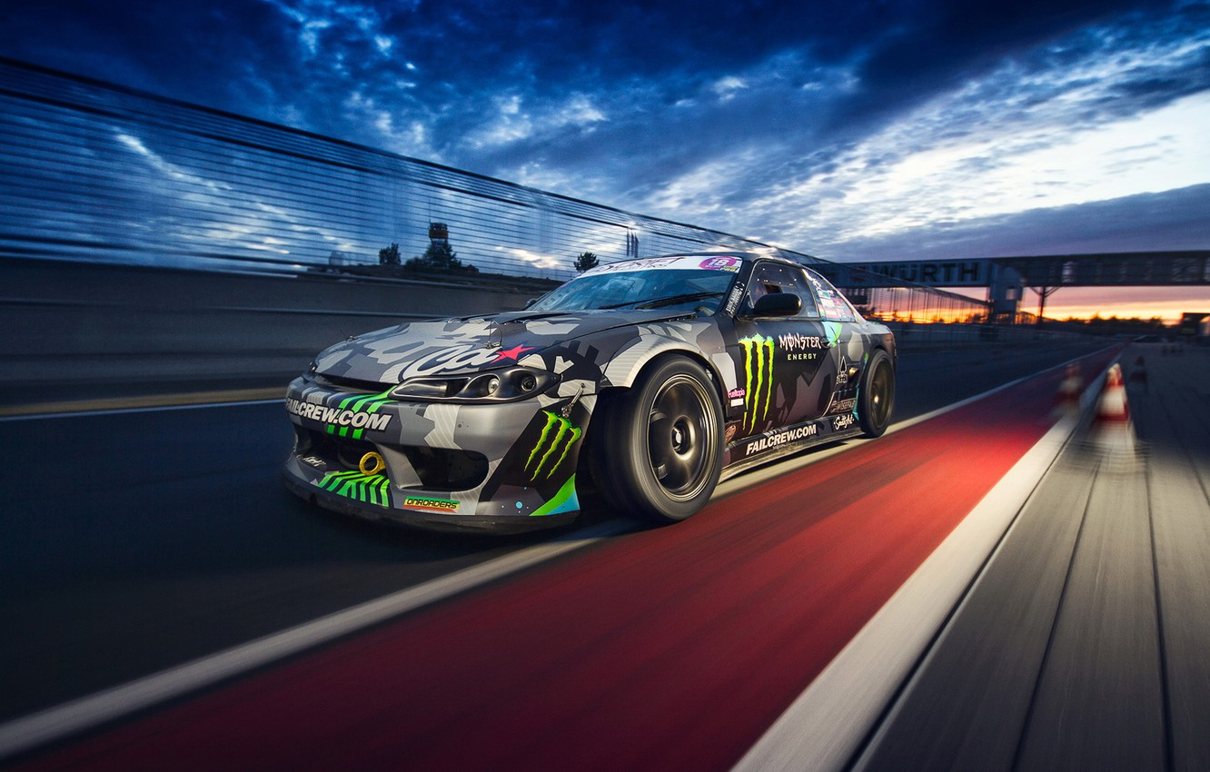 Photo wallpaper car, in motion, race, nissan silvia