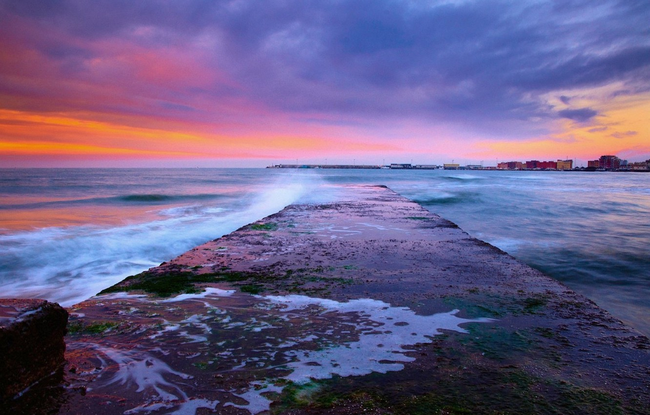 Photo wallpaper sea, the sky, water, clouds, flowers, sunrise, colors, sky, sea, water, clouds, sunrise
