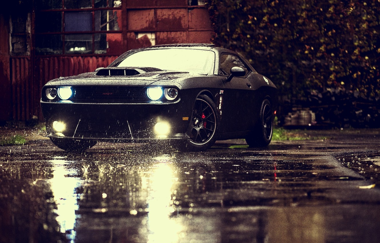 Photo wallpaper Muscle, Dodge, Challenger, Car, Front, Black, Rain, Tuning, SRT, Ligth