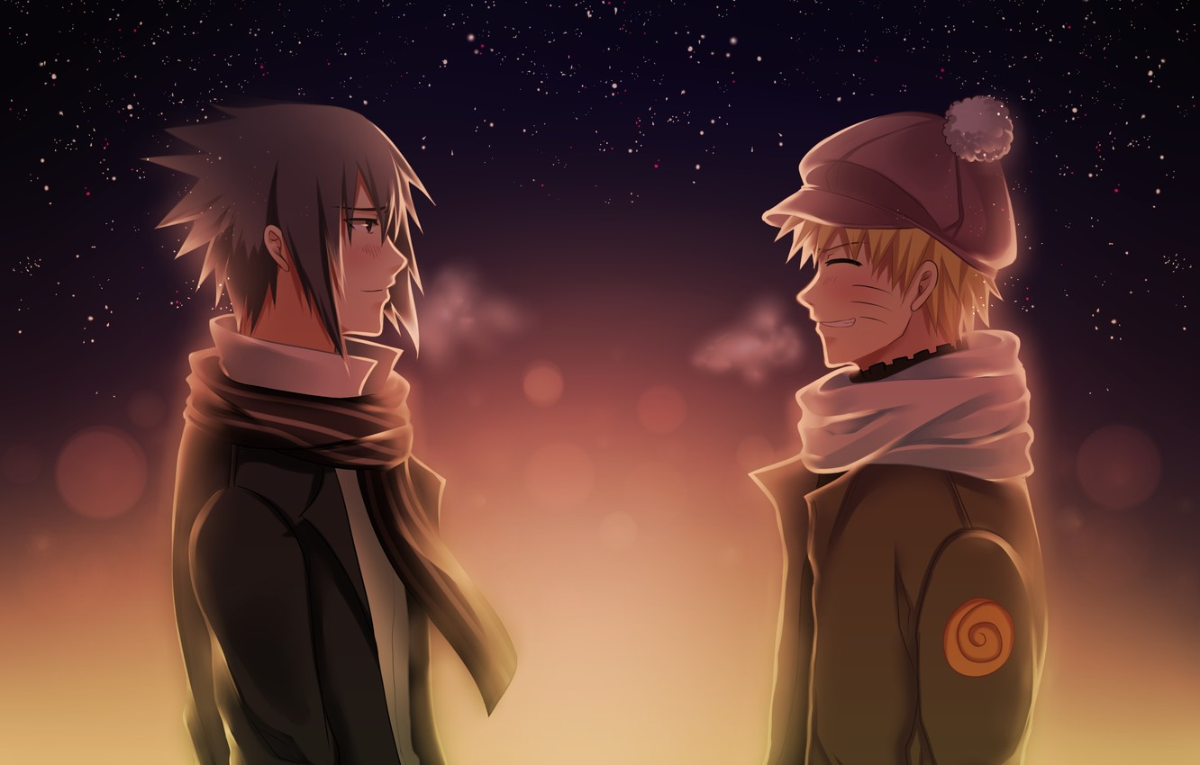 Photo wallpaper the evening, friends, naruto, anime, art, Uchiha Sasuke, shinobi, Uzumaki Naruto, cold weather, a chance …