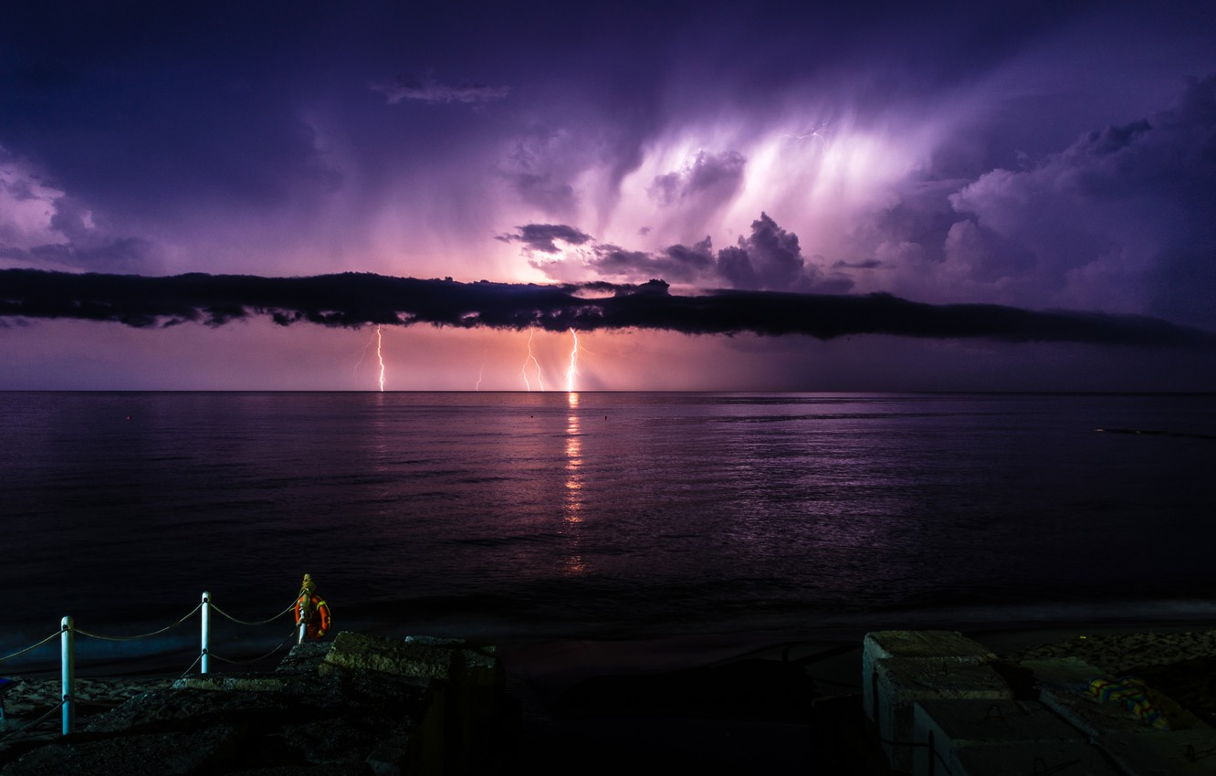 Photo wallpaper sea, the storm, clouds, night, clouds, nature, zipper, Italy, pierce