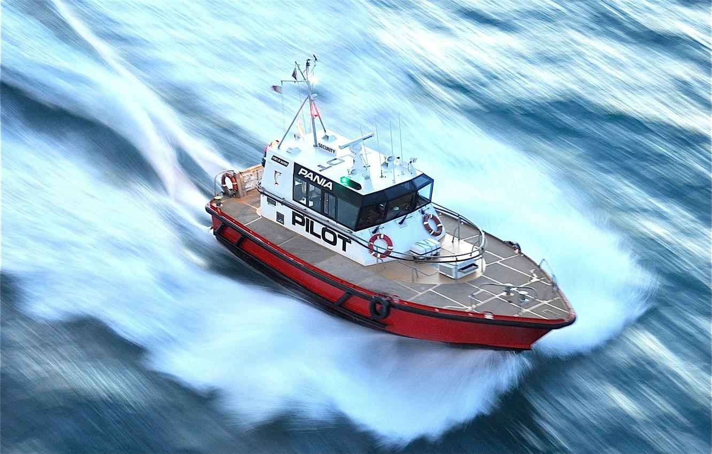 Photo wallpaper sea, speed, ship, boat, pilot boat