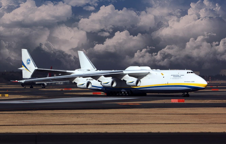 Photo wallpaper The sky, Clouds, The plane, Wings, Ukraine, Mriya, The an-225, Cargo, Jet, Antonov, Cossack, Cossack, …