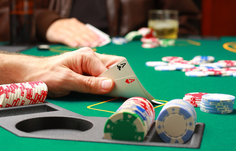 Photo wallpaper card, chips, poker, aces, casino, pocker