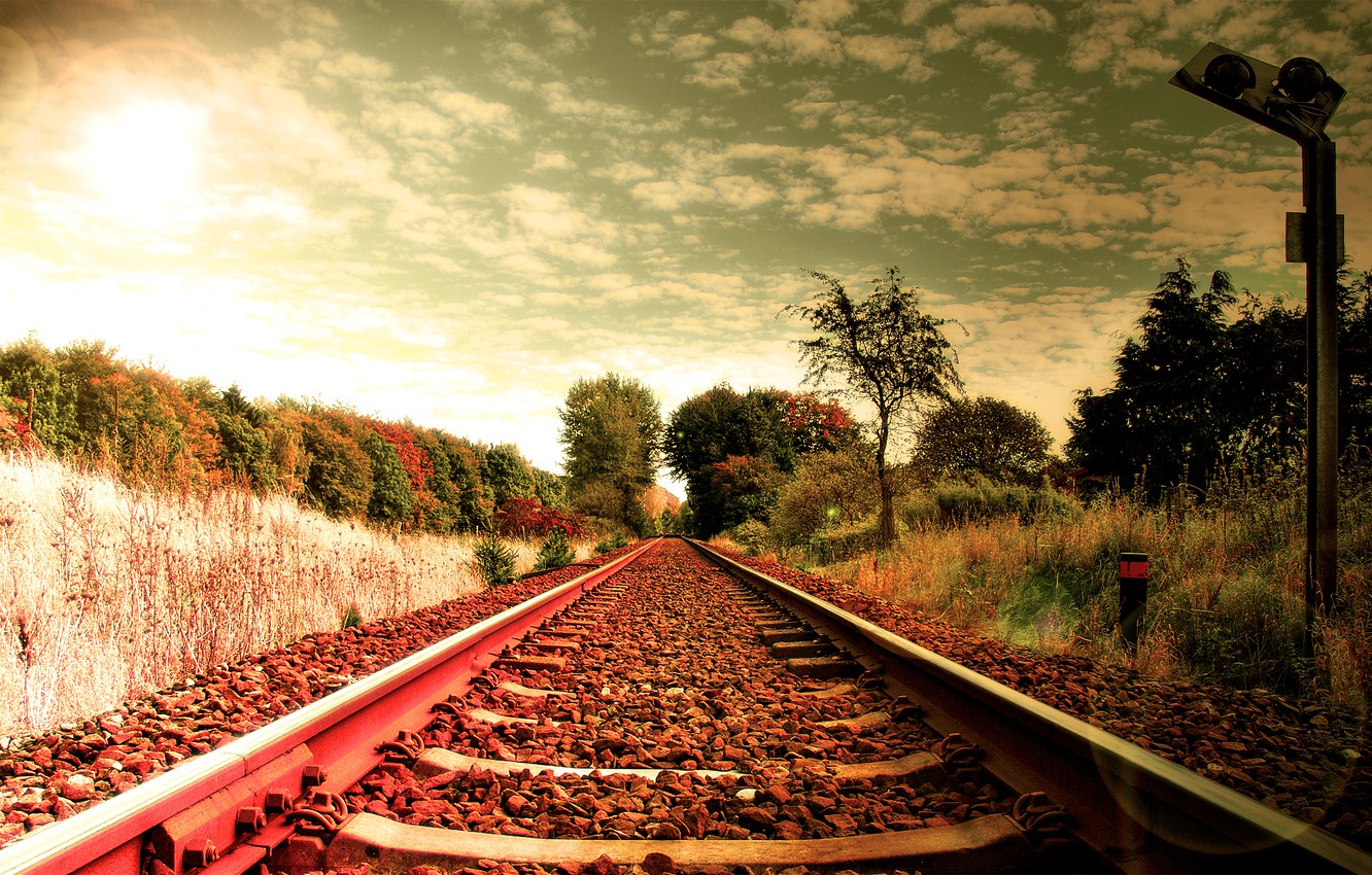 Photo wallpaper grass, the way, the way, stones, creative, landscapes, road, rails, railroad, sleepers, railroad