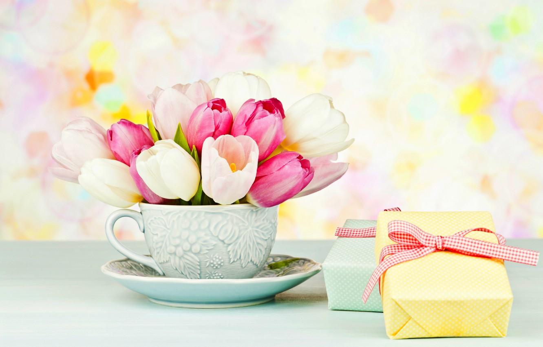 Photo wallpaper flowers, box, gift, bouquet, Cup, tulips, pink, box, pink, flowers, saucer, cup, tulips, gift, bouquet