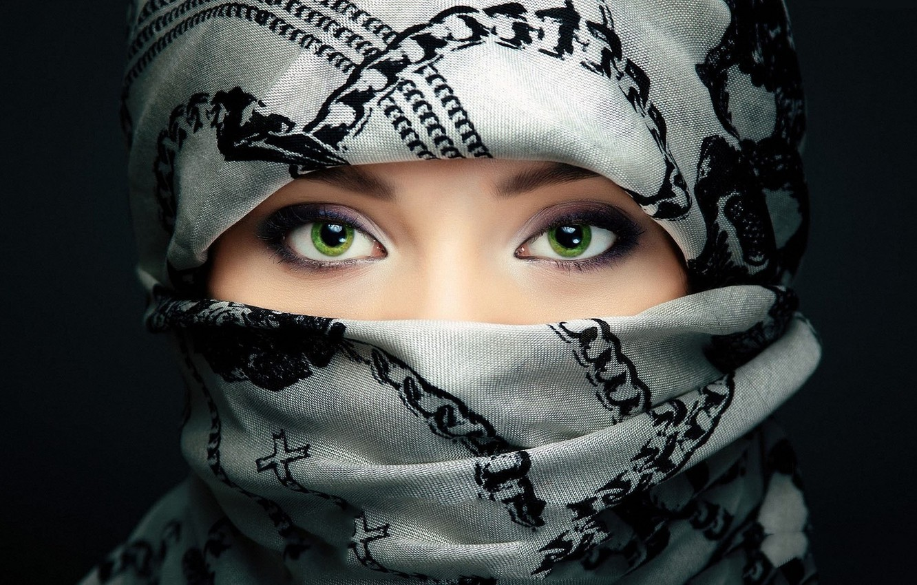Photo wallpaper eyes, look, background, green, hijap