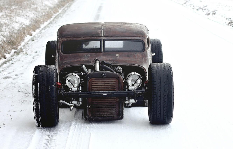 Photo wallpaper winter, snow, volkswagen, winter, Volkswagen, snow, pickup, rat, rod, rod, RET