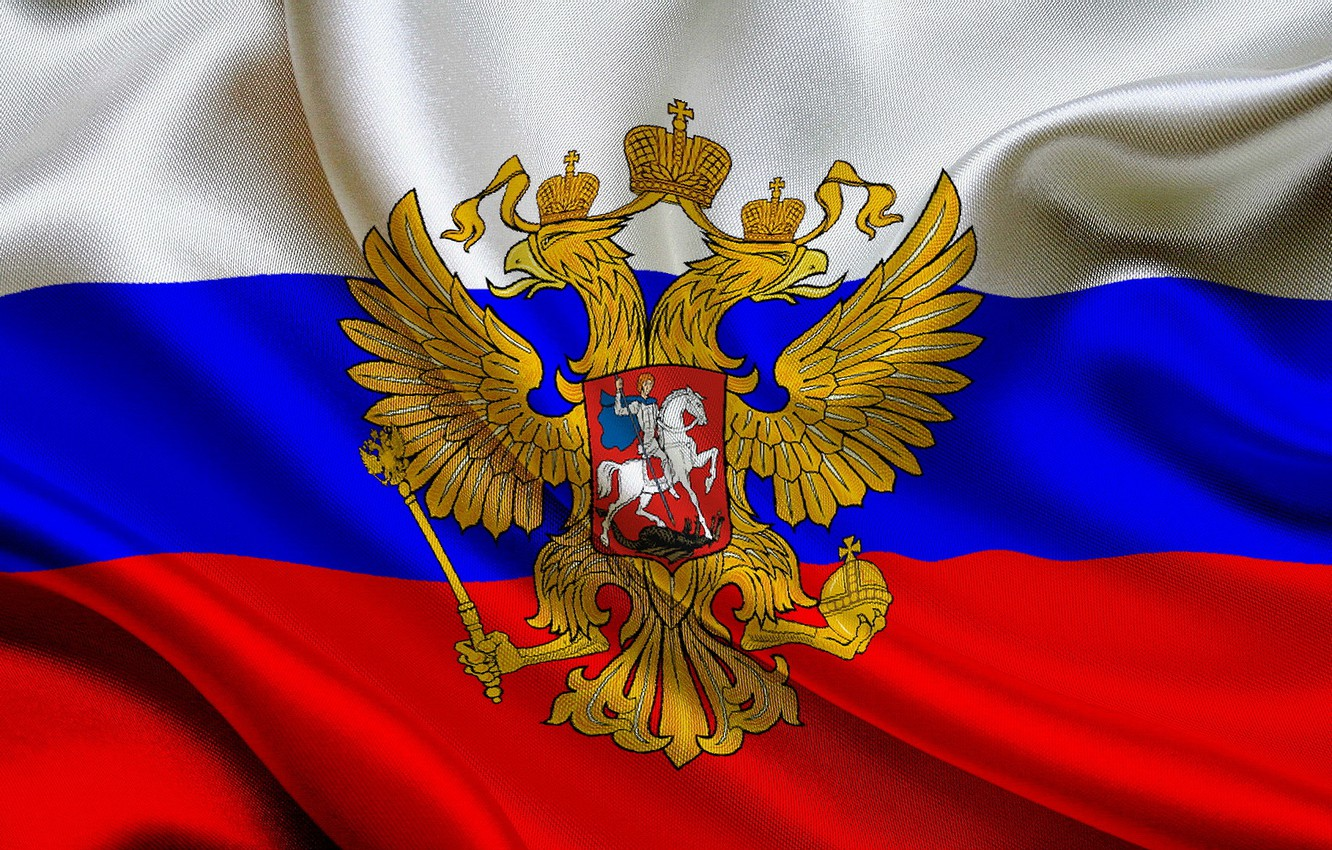 Photo wallpaper coat of arms, The Flag Of Russia, the flag of the Russian Federation, Russian flag