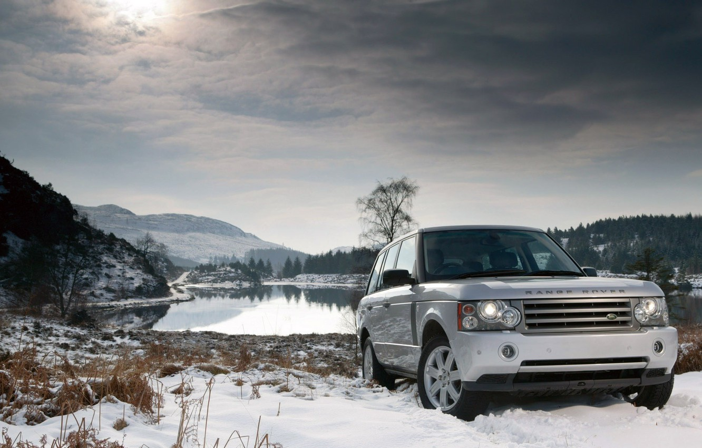 Photo wallpaper winter, snow, lake, land rover