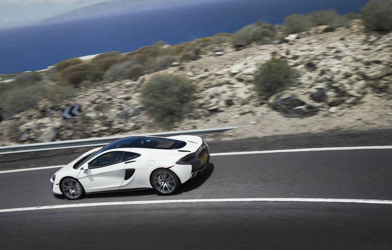 Photo wallpaper road, auto, white, McLaren, speed, supercar, 570GT