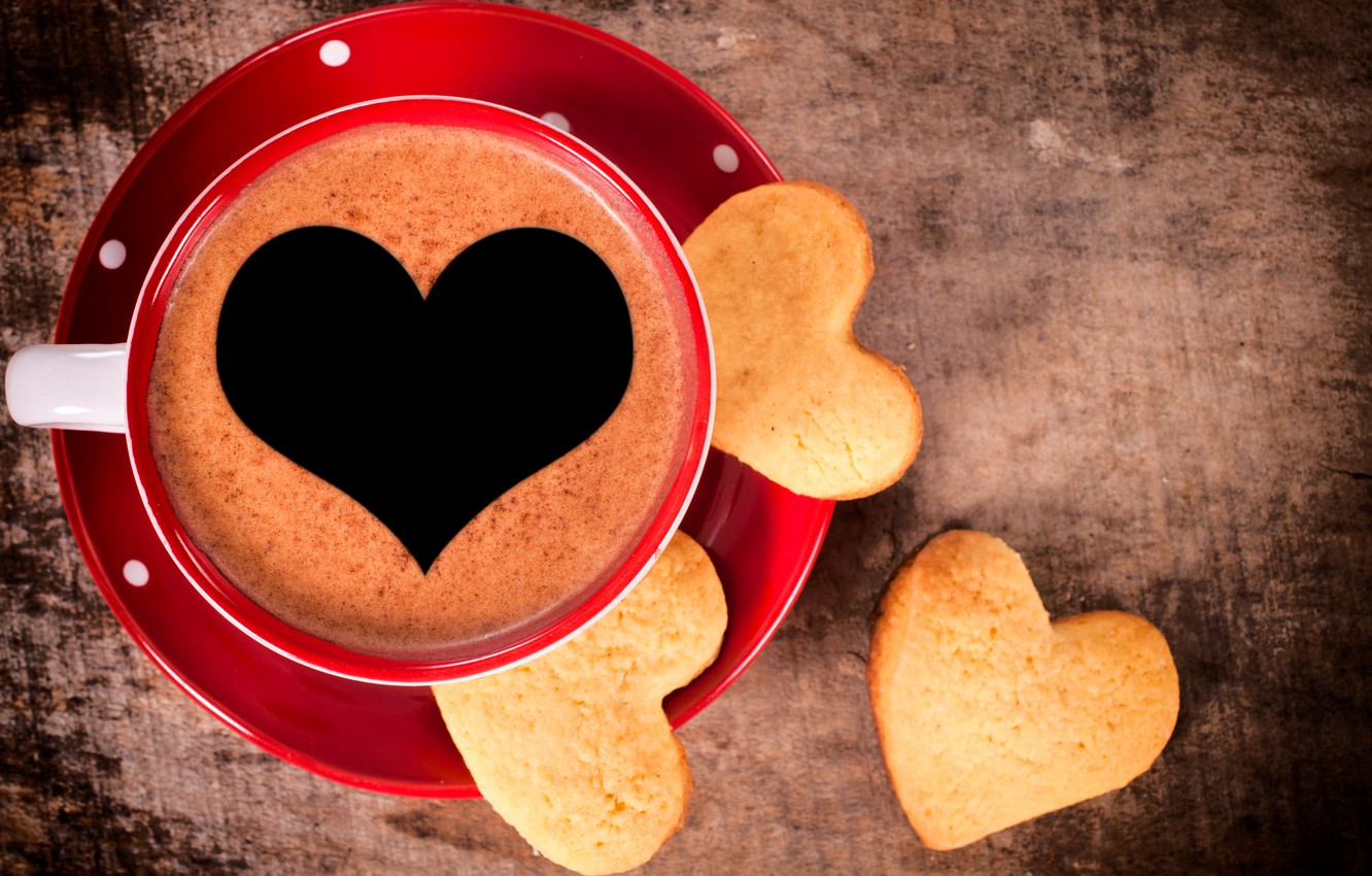 Photo wallpaper love, heart, coffee, Cup, love, dessert, heart, sweet, sweet, dessert, coffe