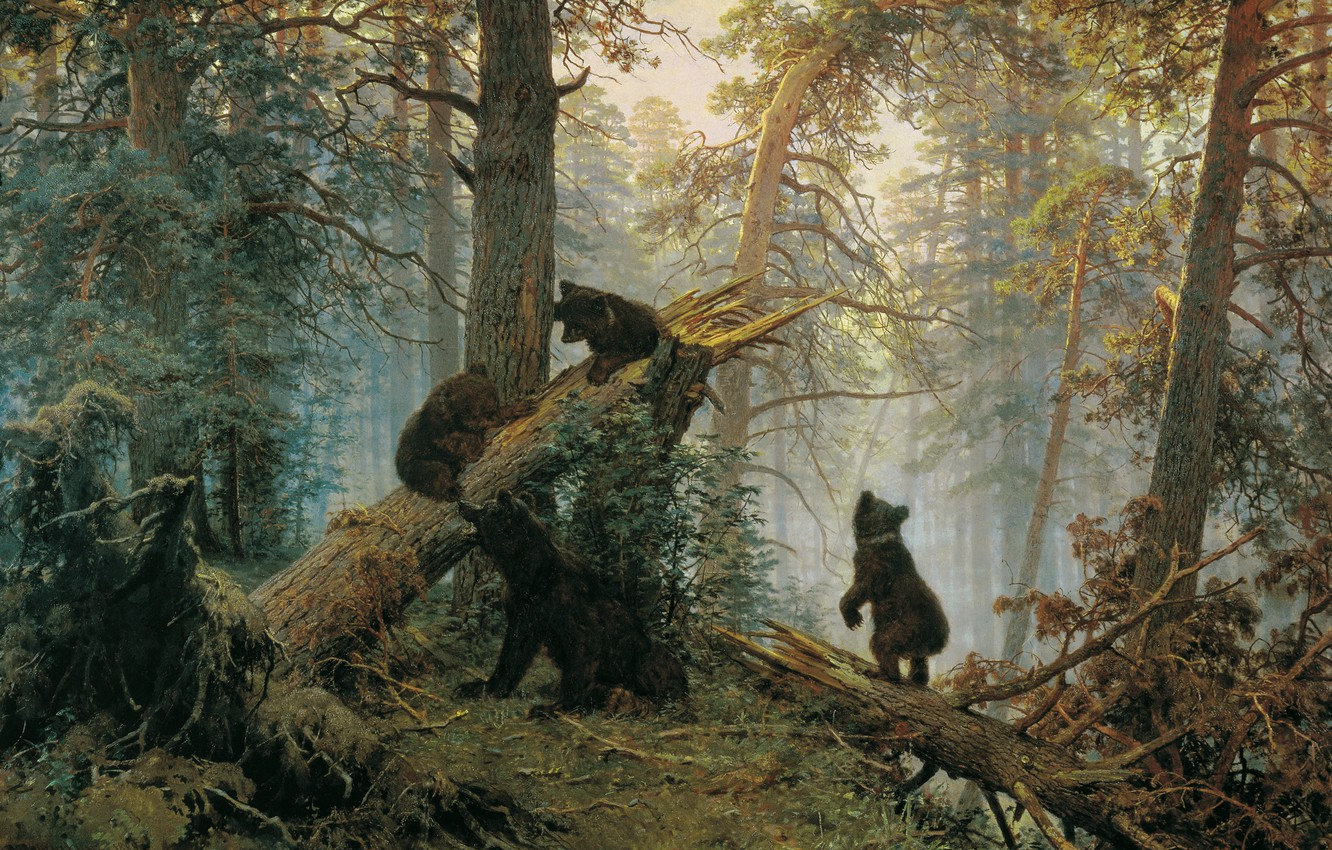 Photo wallpaper forest, bears, Ivan Ivanovich Shishkin, Morning in a pine forest