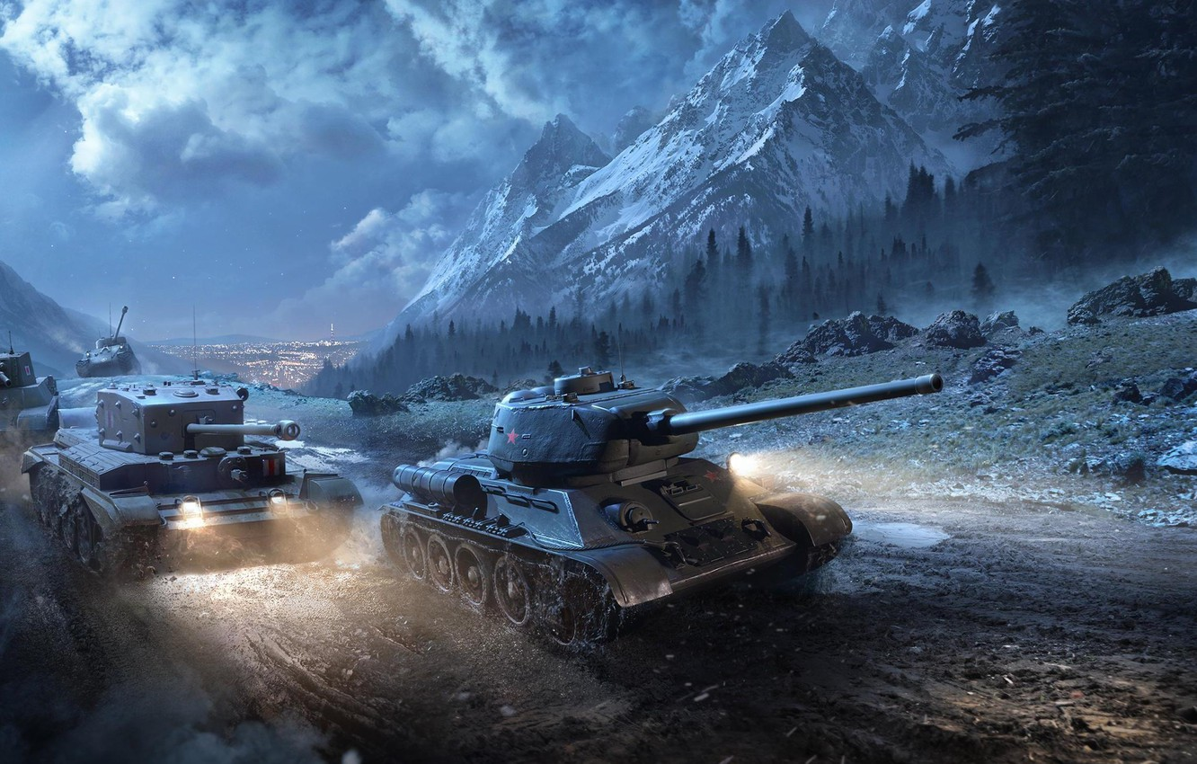 Photo wallpaper Clouds, Mountains, Fog, The city, Trees, Snow, Light, Technique, World of Tanks, World Of Tanks, …