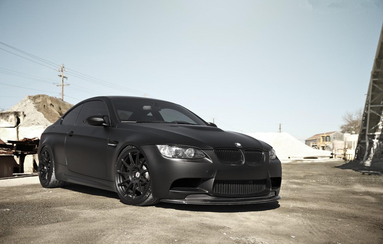 Photo wallpaper bmw, BMW, front view, e92, matte black, tinted, matte black