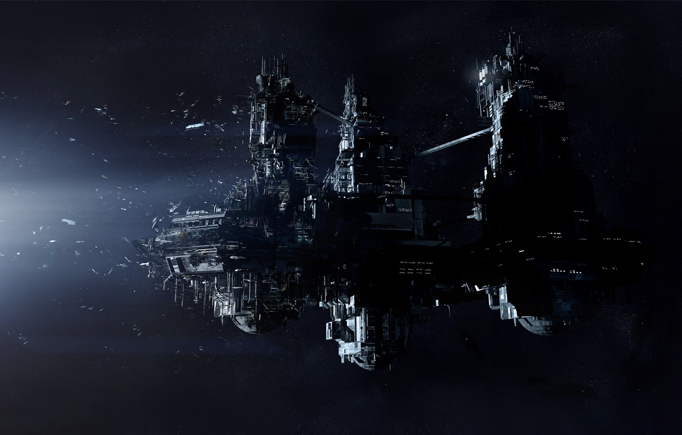 Photo wallpaper Stars, Space, Ship, Light, Spaceship, The wreckage, Creative Assembly, PS4, Sega, Xbox One, Alien: Isolation
