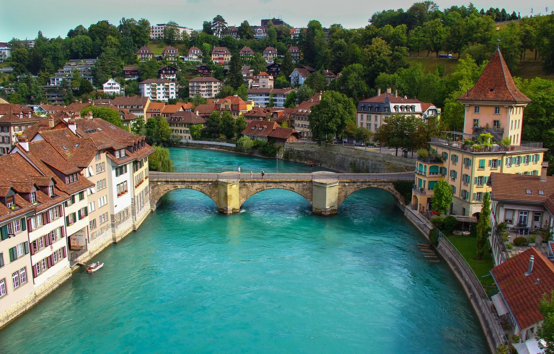 Photo wallpaper the sky, landscape, mountains, bridge, river, home, Switzerland, Bern