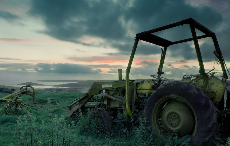 Photo wallpaper grass, tractor, abandoned, broken