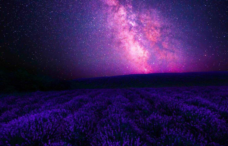 Photo wallpaper Sky, Stars, Landscape, Galaxy, Center, Night, Lavender, Galactic, Way, Forgotten, Milky