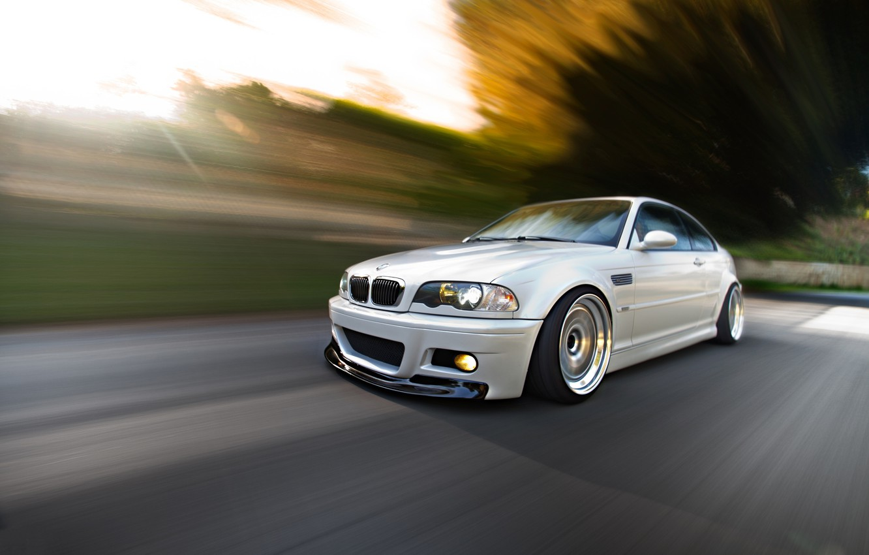 Photo wallpaper road, white, bmw, BMW, speed, white, Blik, road, speed, headlights, e46
