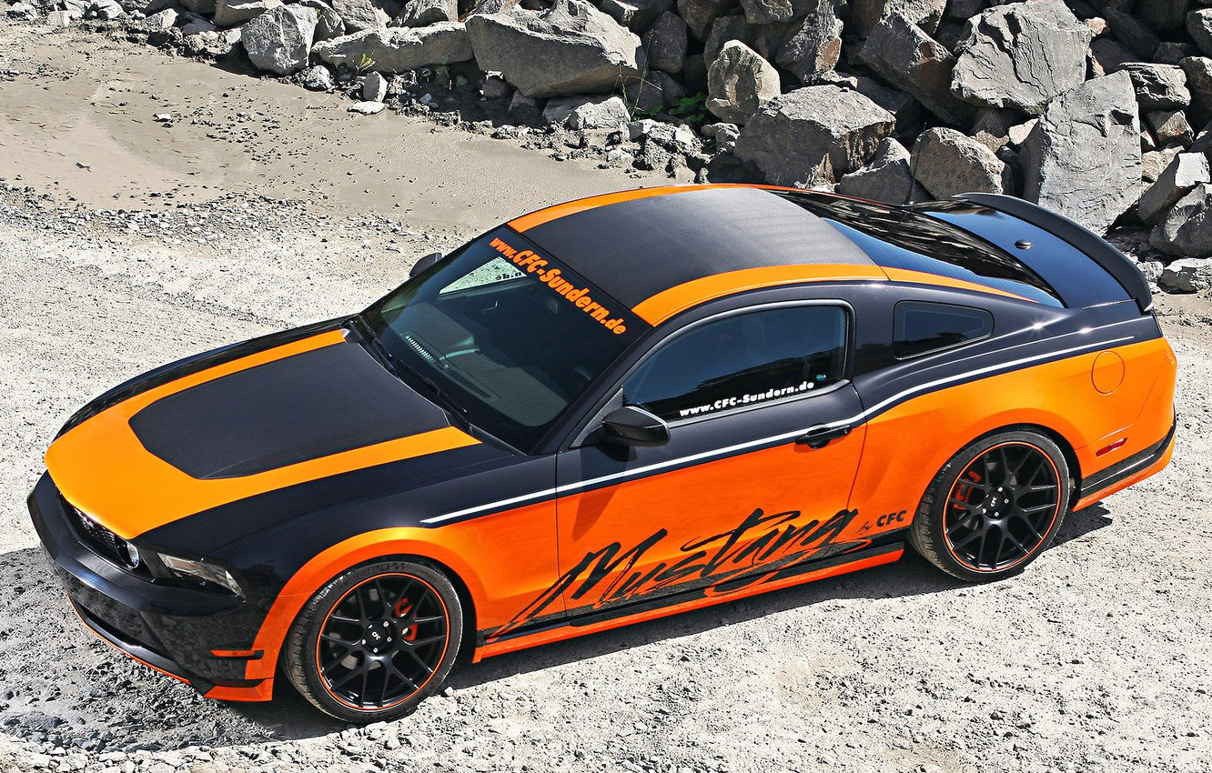 Photo wallpaper Ford, Orange, Carbon, Tuning, Mustang GT