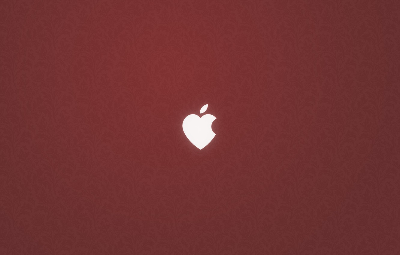 Photo wallpaper heart, apple, logo