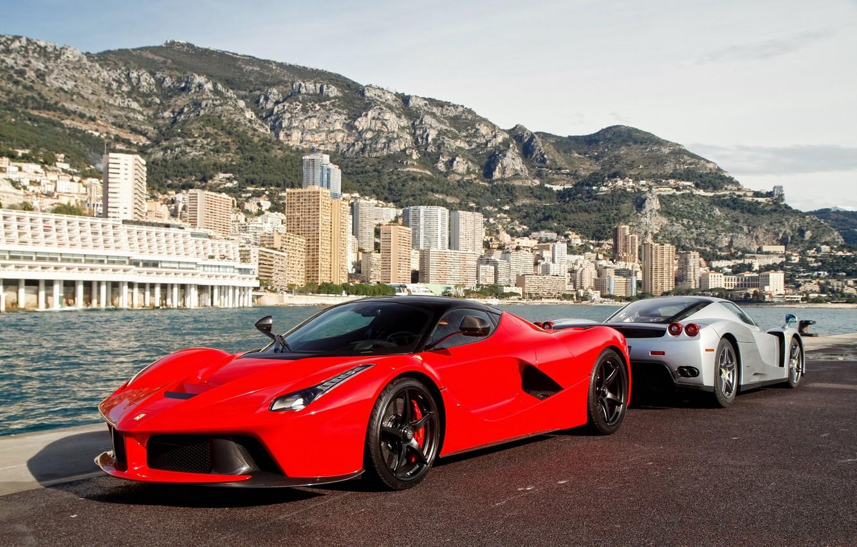 Photo wallpaper red, silver, pier, red, ferrari, Ferrari, enzo, silvery, Enzo, the laferrari, laferrari