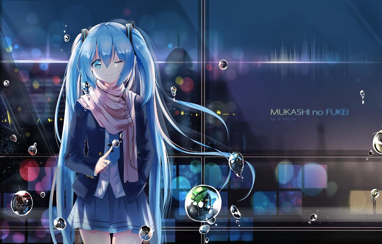 Photo wallpaper girl, bubbles, hatsune miku, anime, art, k.School of Health.e+