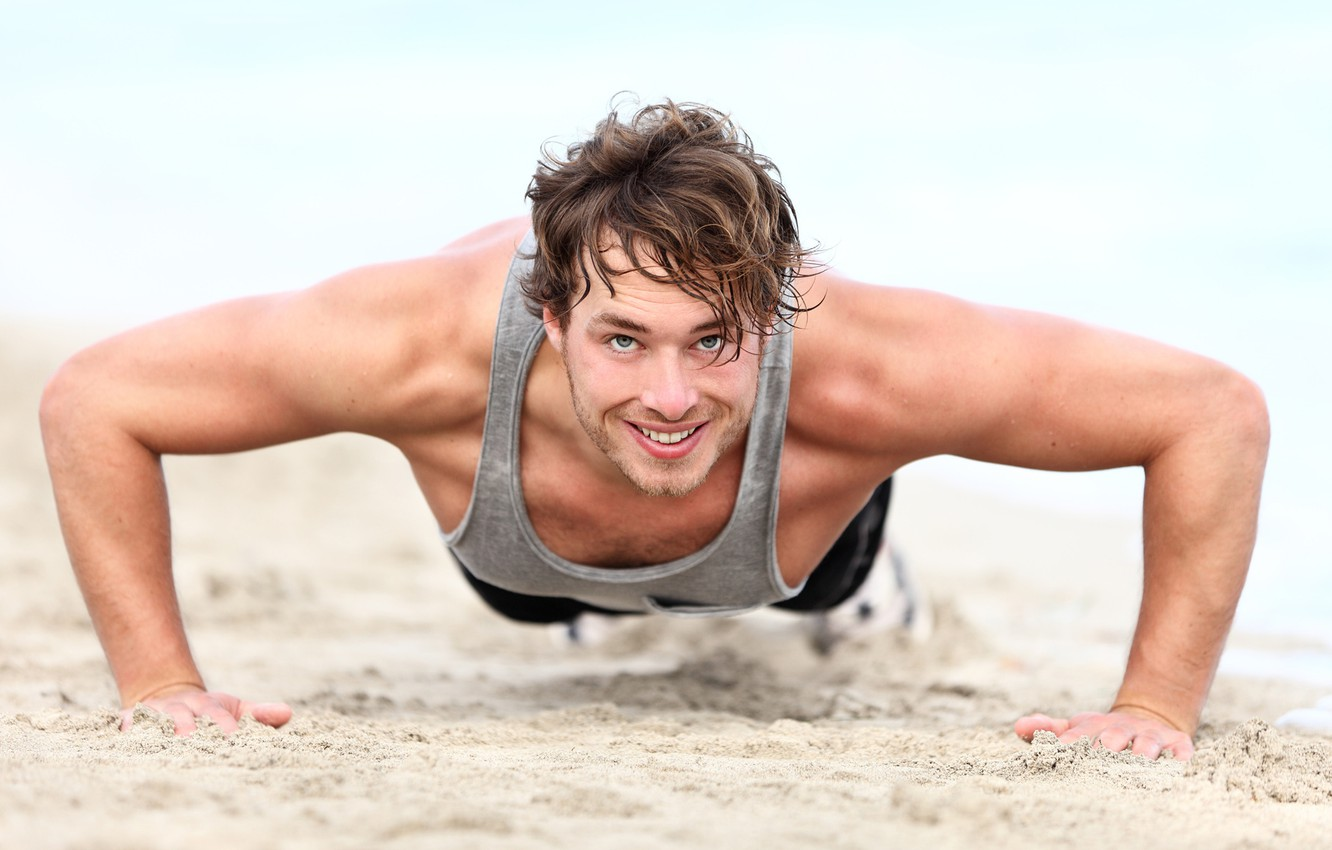 Photo wallpaper sand, beach, smile, male, muscles, pressed
