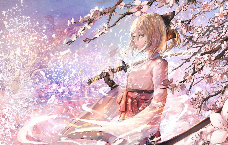 Photo wallpaper girl, sword, katana, Sakura, art, saber, fate/stay night, sishenfan, fate/grand order