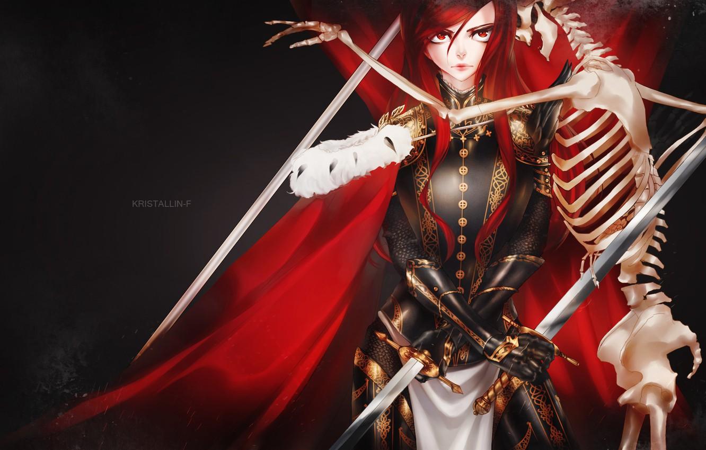 Photo wallpaper look, girl, weapons, armor, skeleton, art, fairy tail, ezra scarlet, Crystalline-F