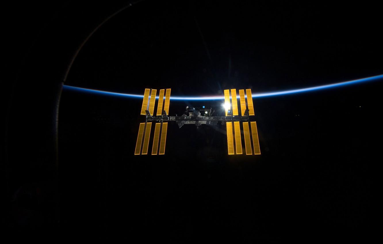 Photo wallpaper earth, space, light, ISS, Space, International, ISS, background, Wallpaper, planet, satellite, ship, brightness, horizon, atmosphere, …