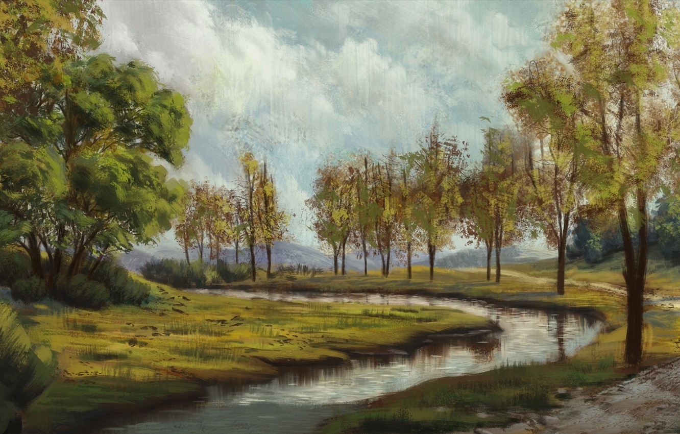 Photo wallpaper clouds, trees, river, painted landscape