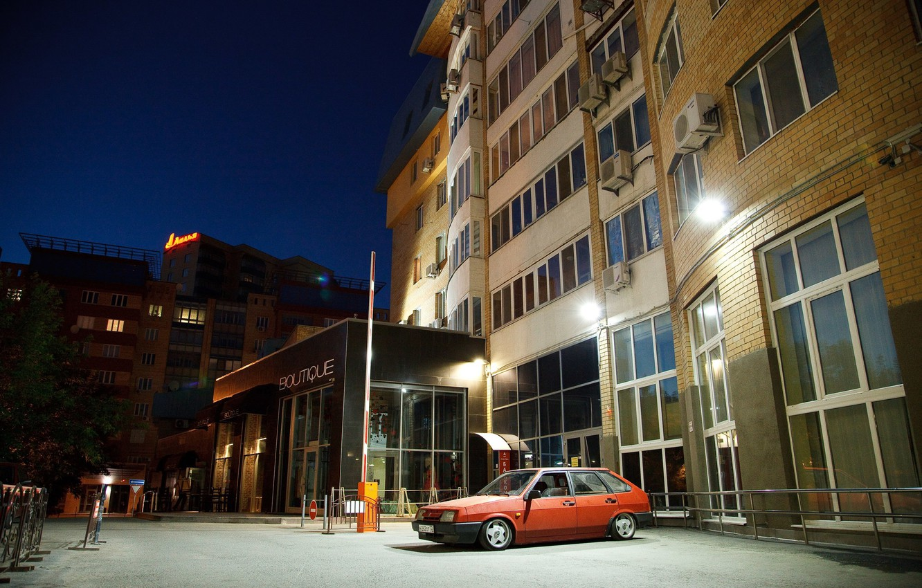 Photo wallpaper tuning, the evening, yard, red, Lada, lada, Lada, stance, high-rise building, 2109