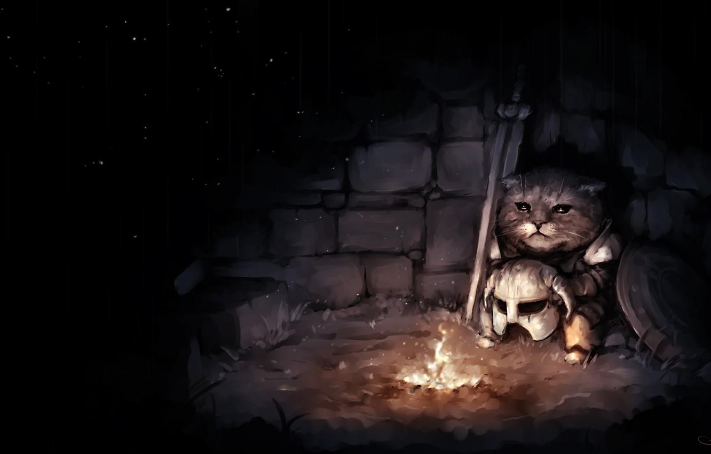 Photo wallpaper sadness, cat, art, helmet, twilight, the fire, Skyrim