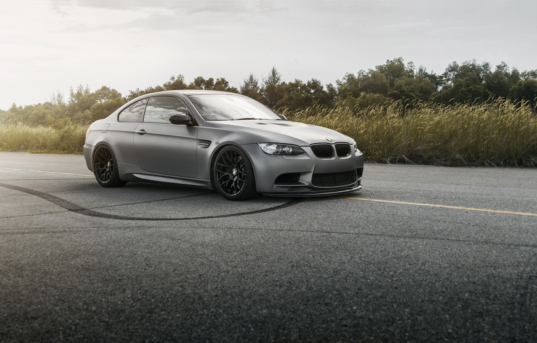 Photo wallpaper road, strip, grey, bmw, BMW, grey, e92