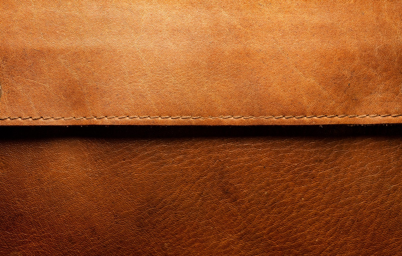 Photo wallpaper leather, brown, line
