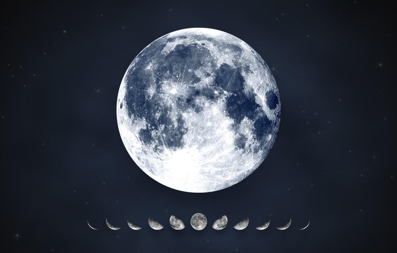 Photo wallpaper stars, the moon, moon, calendar, lunar