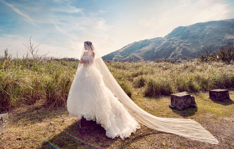 Photo wallpaper girl, the bride, white dress