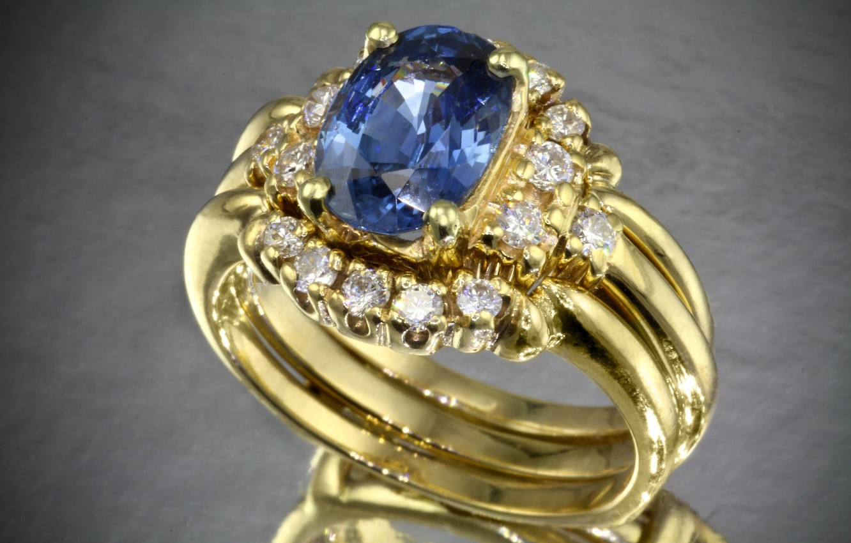 Photo wallpaper blue, stone, ring, diamonds, gold, precious