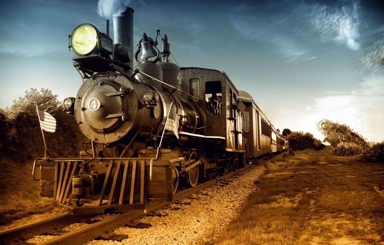 Photo wallpaper retro, the way, photo, movement, rails, the engine, technique, us locomotive, Steam