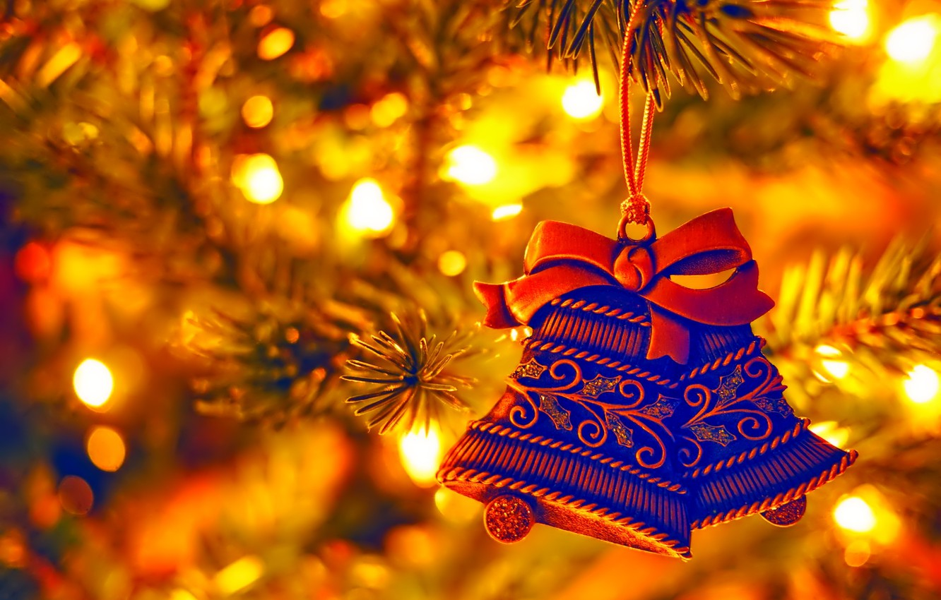 Photo wallpaper lights, holiday, Christmas, New year, tree, Christmas toy, bell