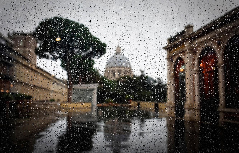 Photo wallpaper drops, rain, Rome