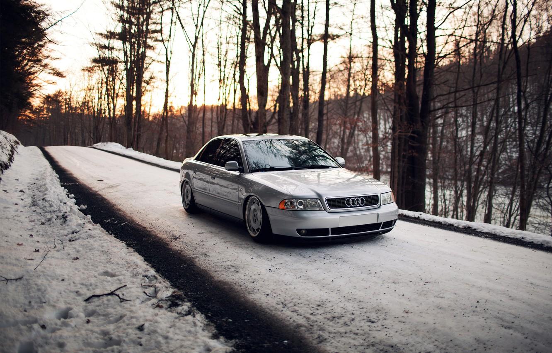 Photo wallpaper forest, snow, Audi, Audi, silver, stance, Doroga