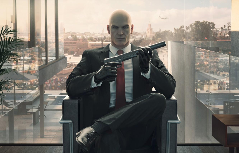 Photo wallpaper look, gun, chair, window, bald, tie, Hitman, agent, jacket, killer, killer, people, Square Enix, muffler, …