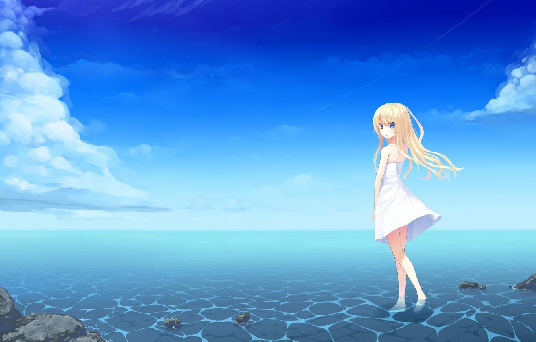 Photo wallpaper the sky, water, girl, clouds, horizon, blue eyes, Art, long hair, sundress, blonde hair, uttt