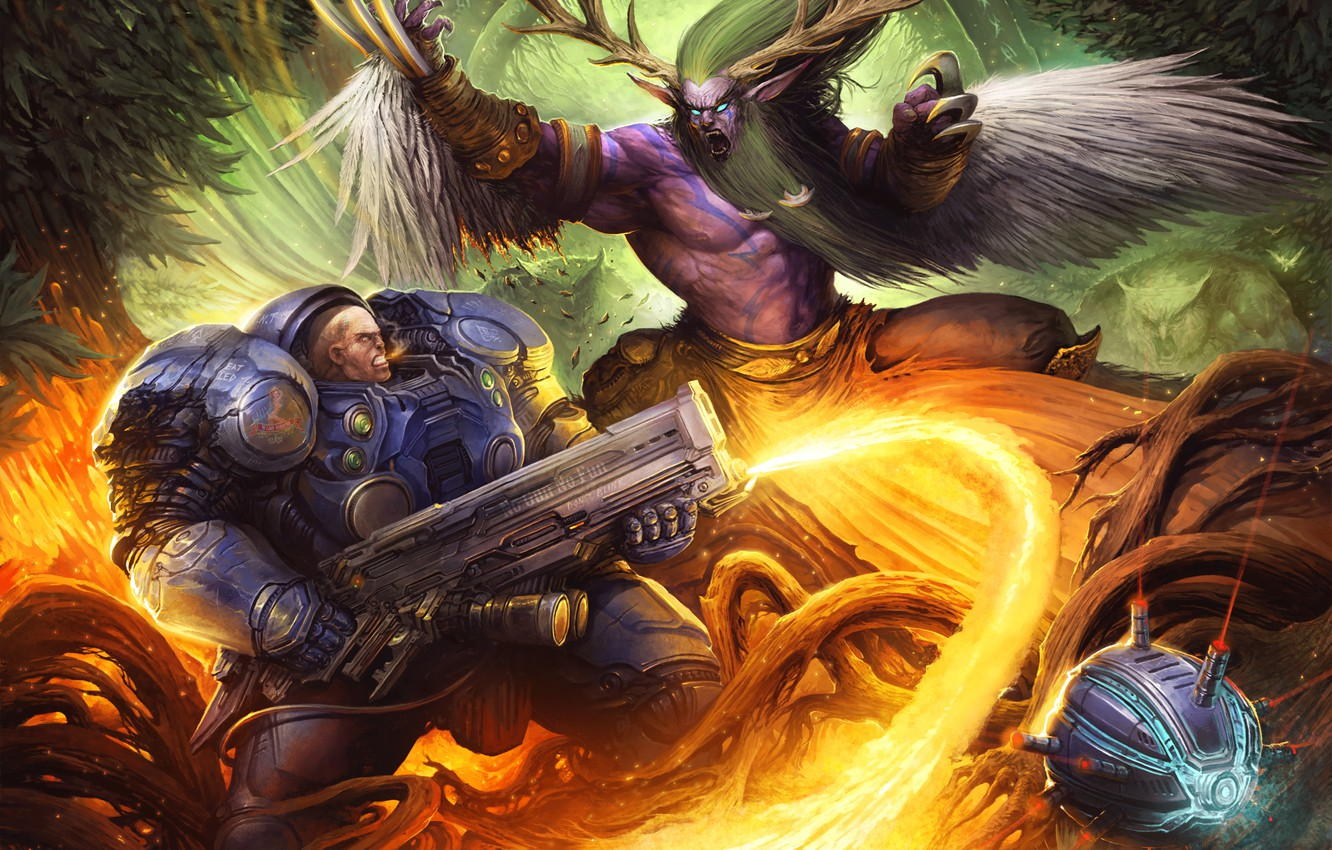 Photo wallpaper battle, starcraft, armor, Warcraft, fight, wow, art, druid, Heroes of the Storm, moba, Malfurion, Tychus …