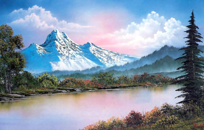 Bob Ross Winter Painting Wallpaper